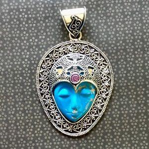 Copper Aqua Turquoise Gemstone Moon Face Pendant